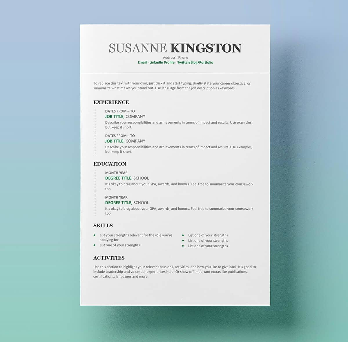 microsoft word resume with green details - Job Resumes Templates