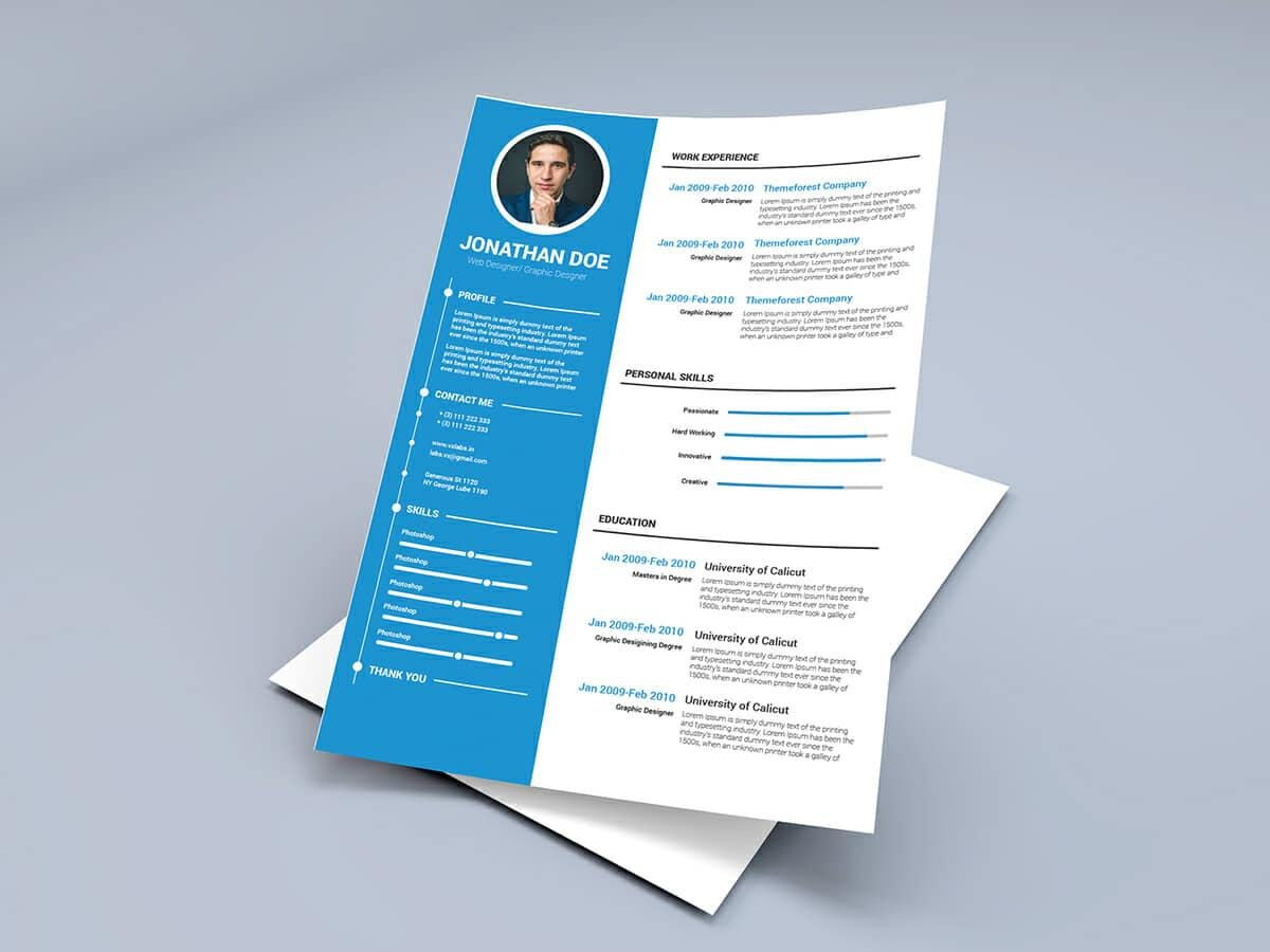 Blue Resume Template For Word