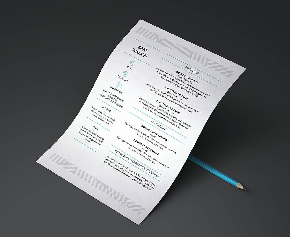 microsoft word resume template with creative pattern