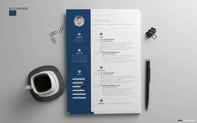 pile of navy blue resume templates for word