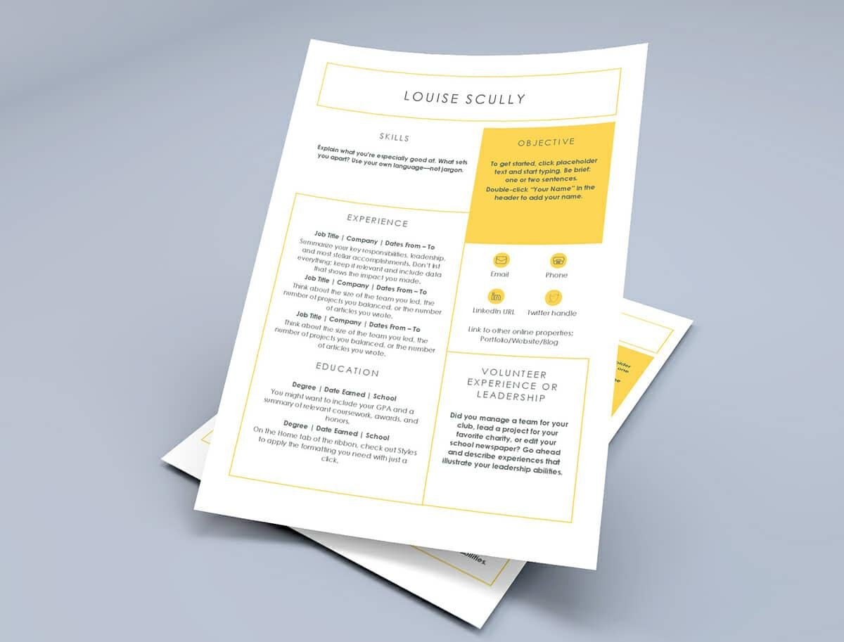 Ms Word Resume Template In Yellow