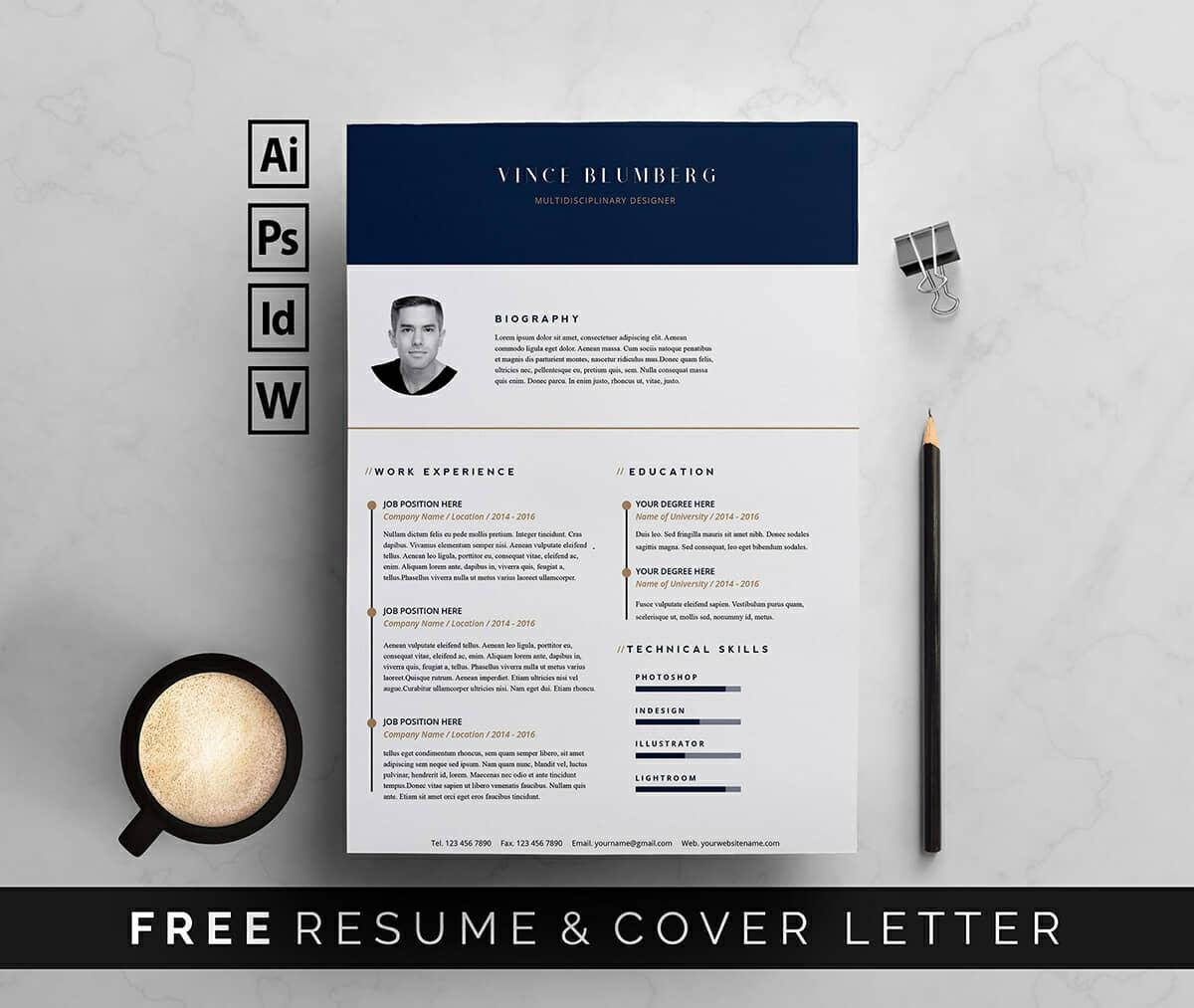 Free Elegant Resume Template For Word With Gold Details