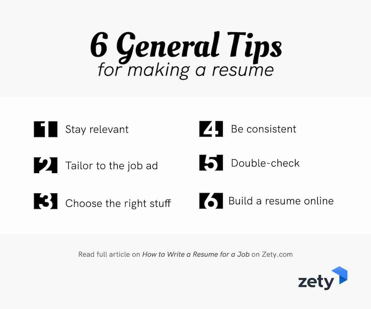 Resume tips for making a resume