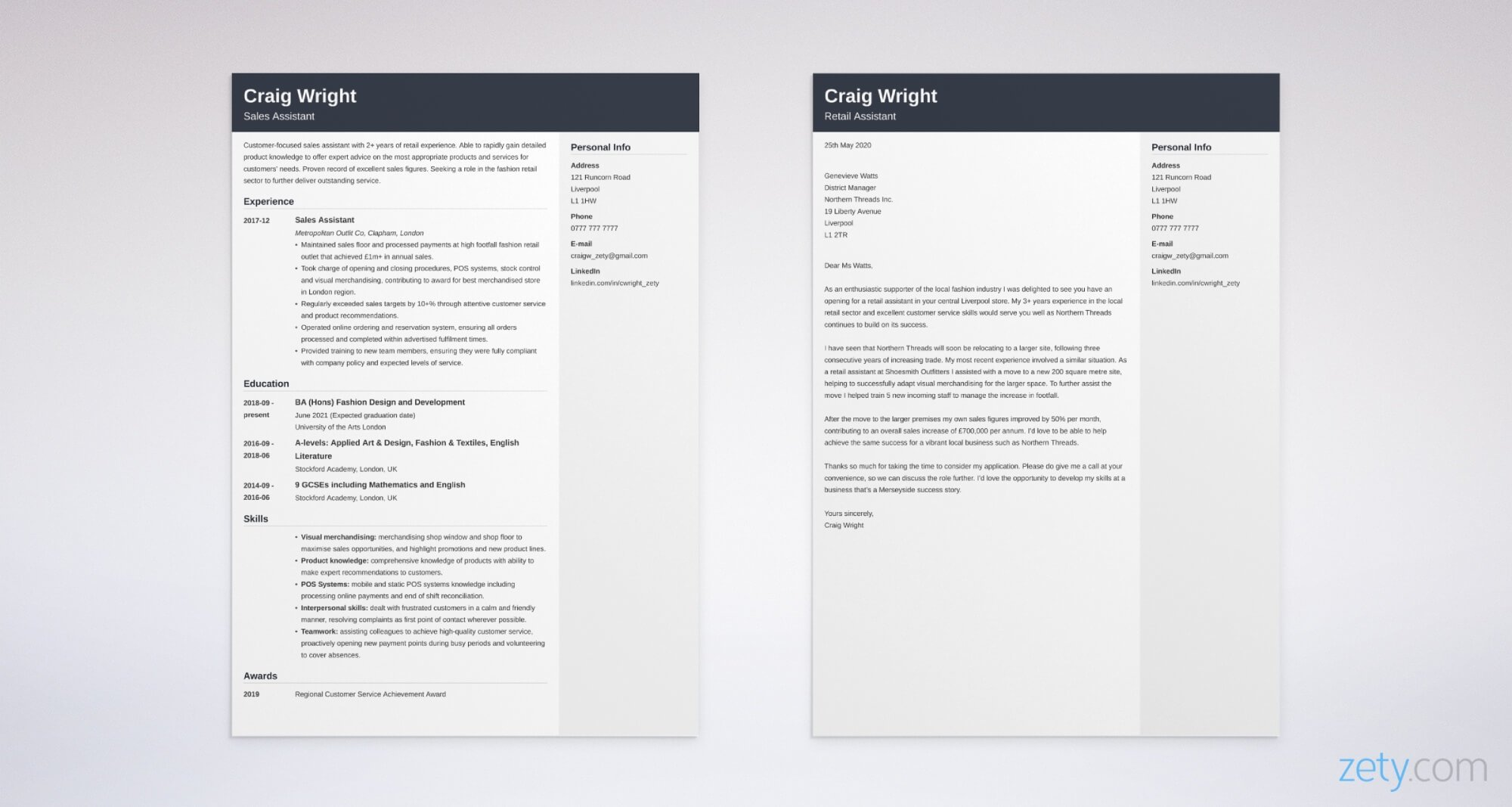 retail cv and cover letter set