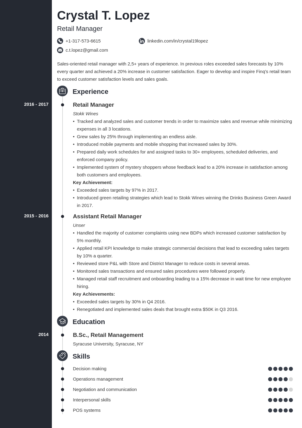retail manager resume example template concept
