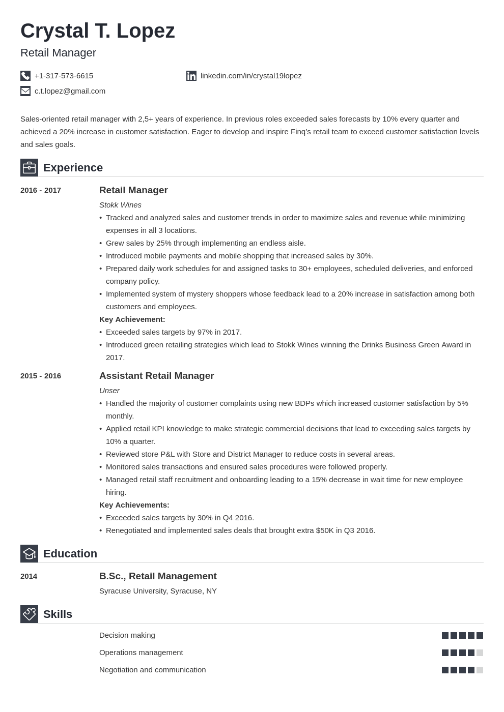 retail manager resume example template iconic