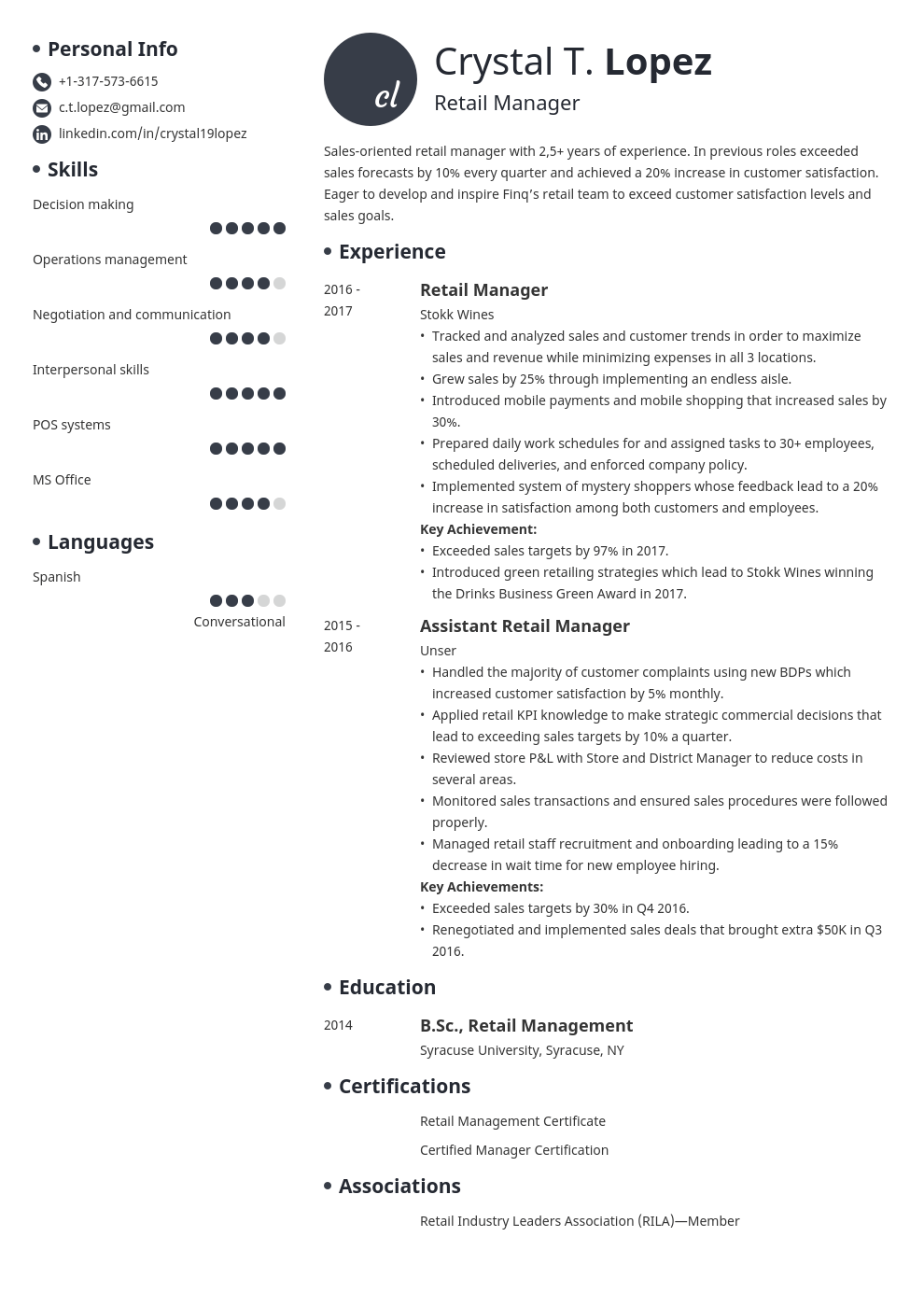 retail manager resume example template initials