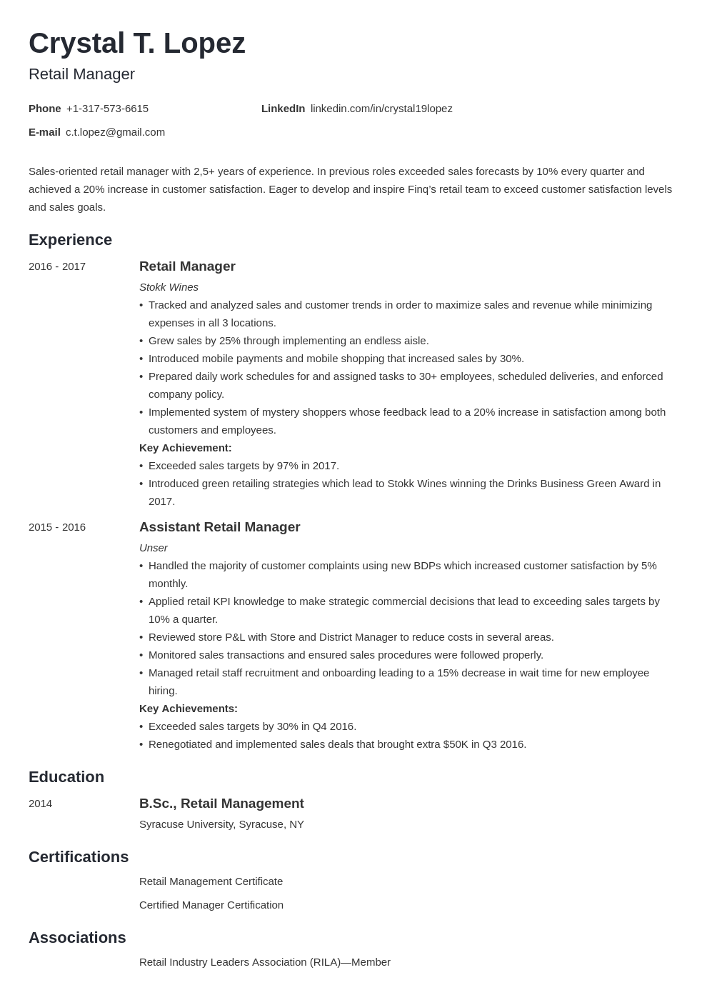 retail manager resume example template minimo