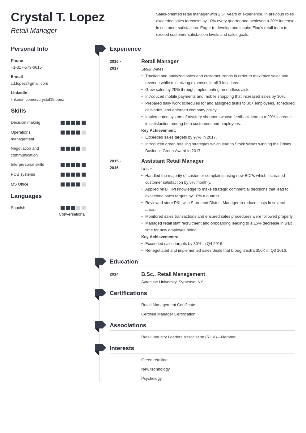 retail manager resume example template muse