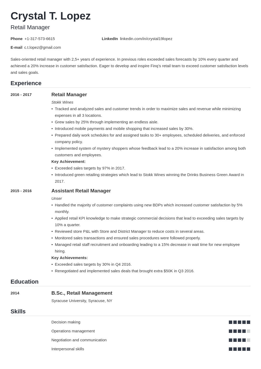 retail manager resume examples with skills  objectives