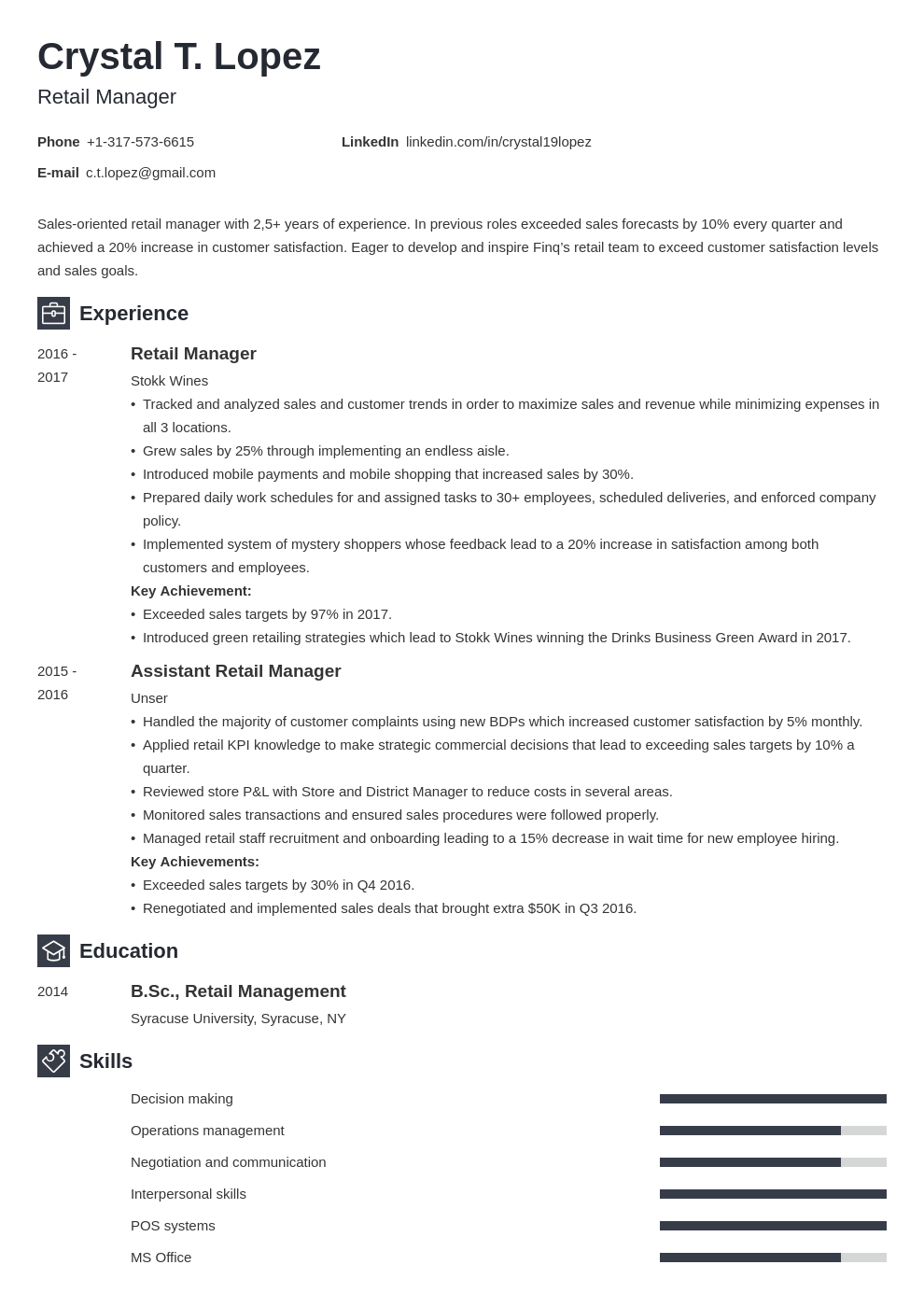 retail manager resume example template newcast