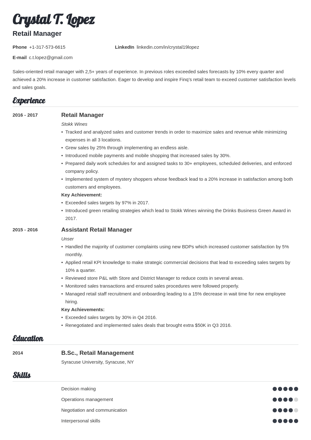retail manager resume example template valera