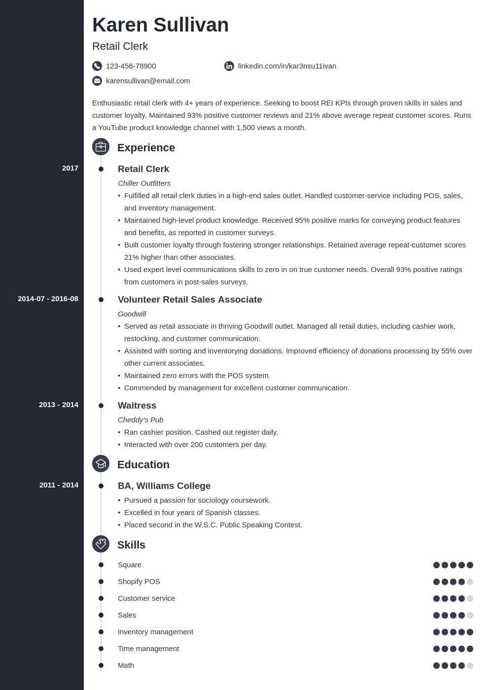 retail resume example template concept