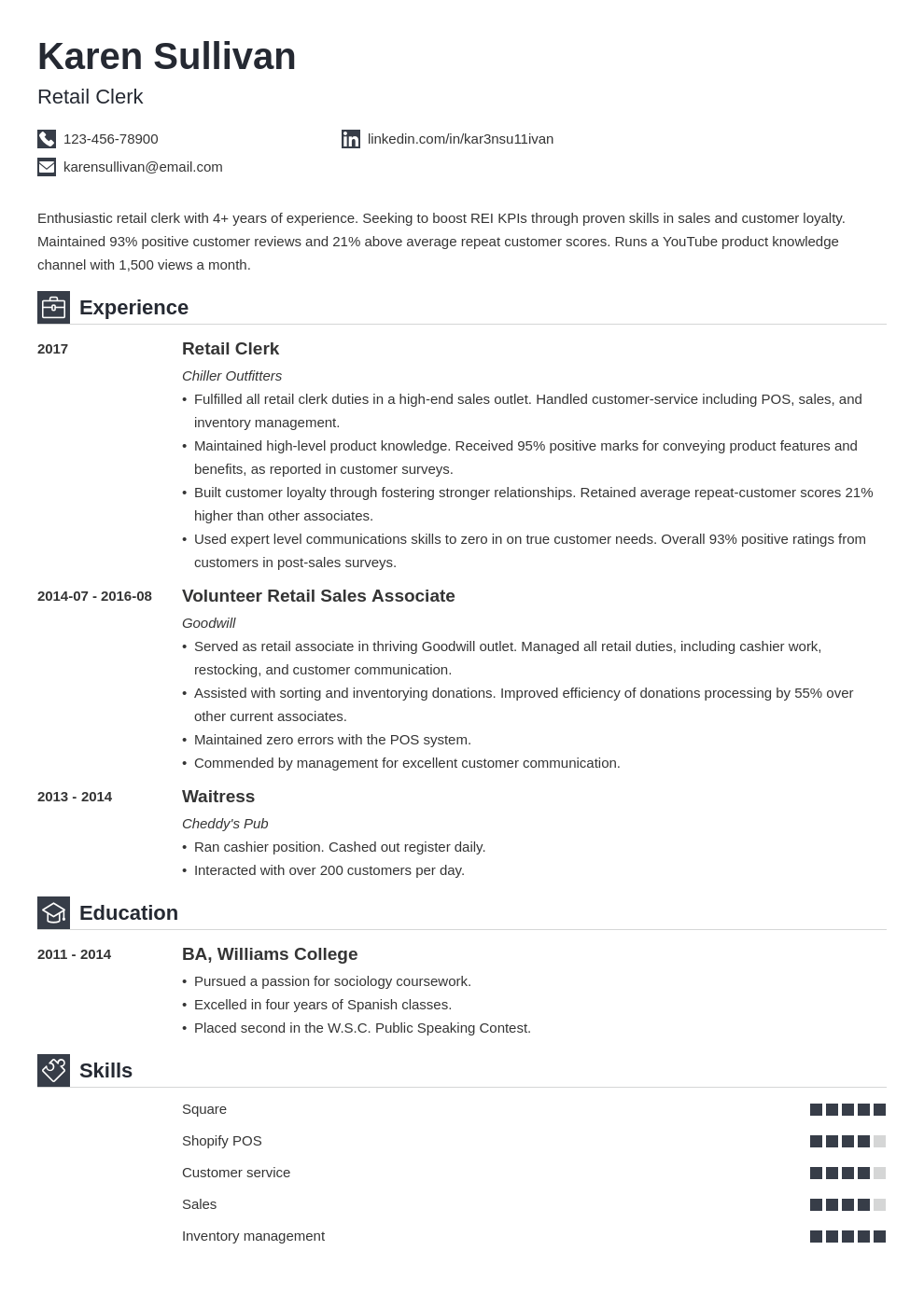 retail resume example template iconic