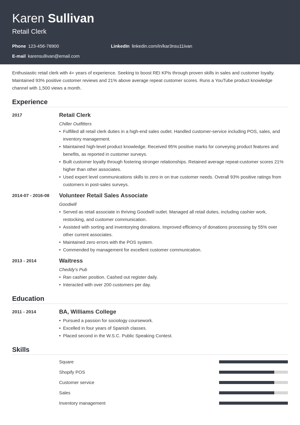 retail resume example template influx