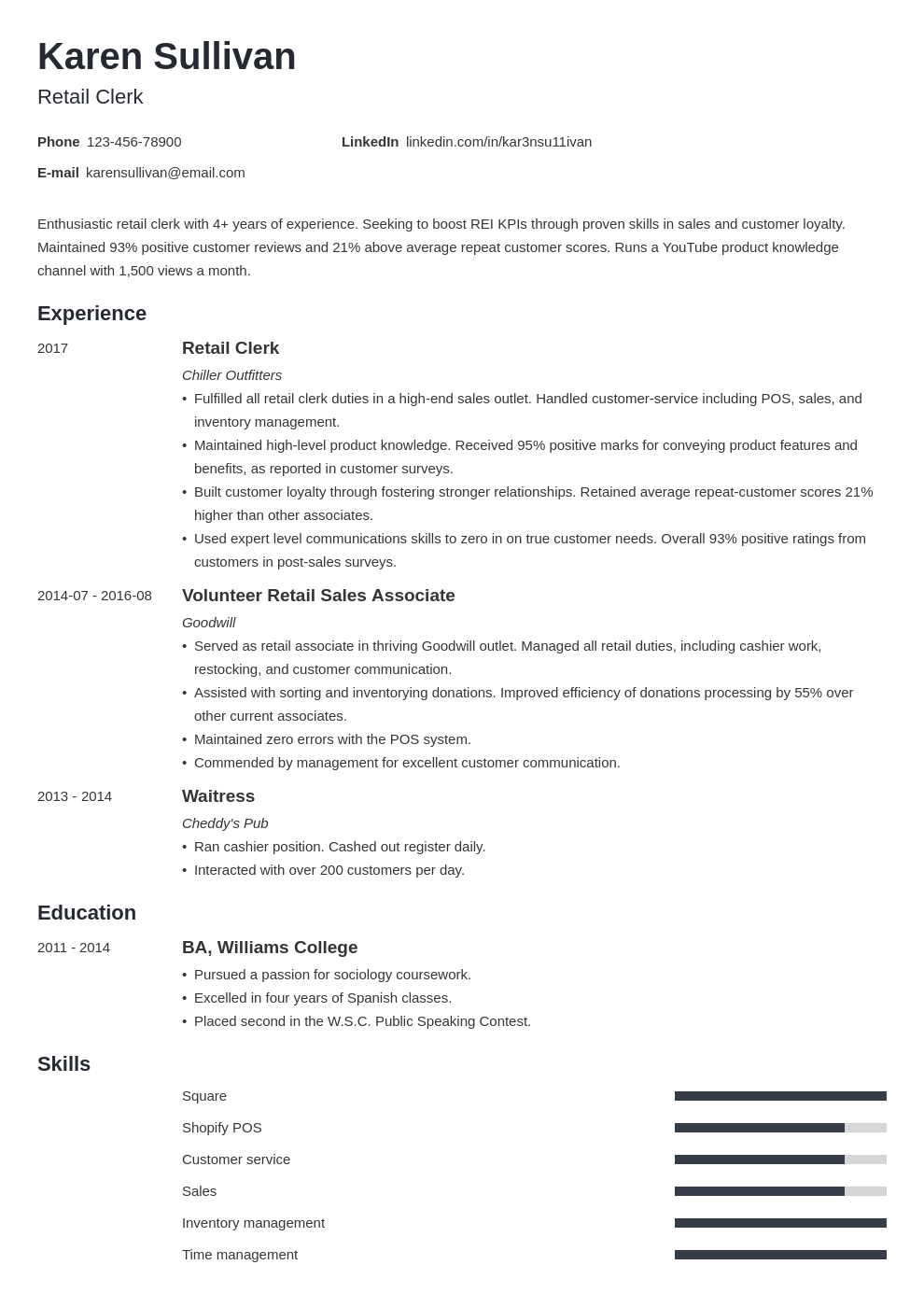 Retail Resume Examples Template With Skills Experience