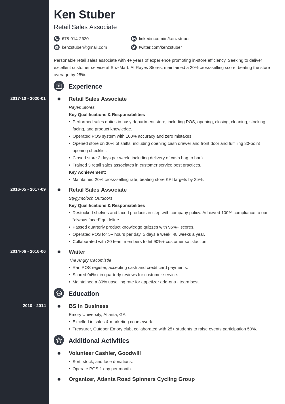 retail sales associate resume example template concept