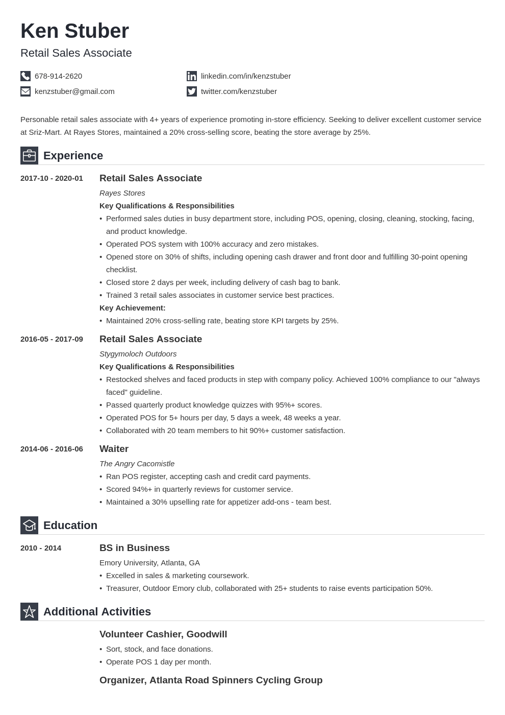 retail sales associate resume example template iconic