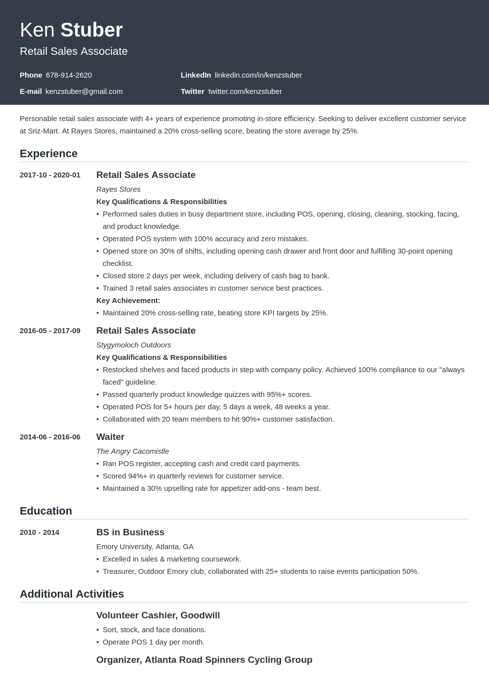 retail sales associate resume example template influx