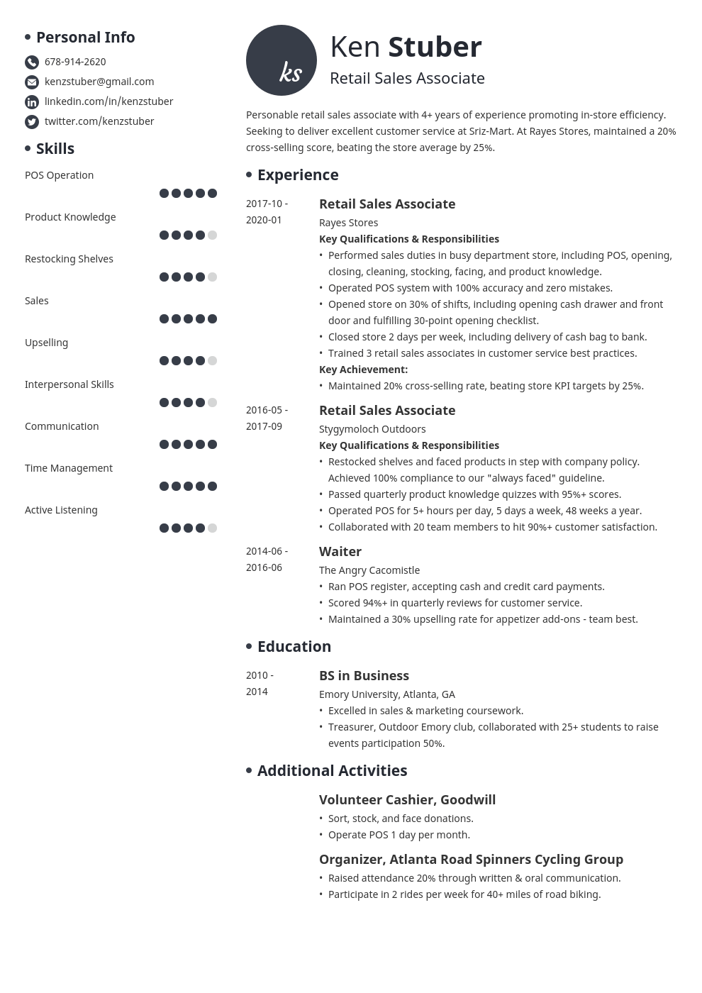retail sales associate resume example template initials