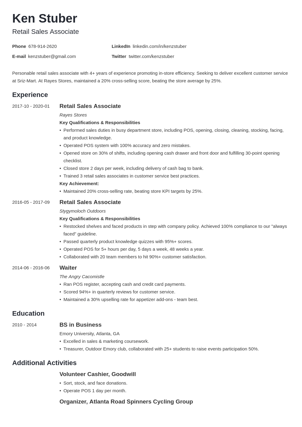 retail sales associate resume example template minimo
