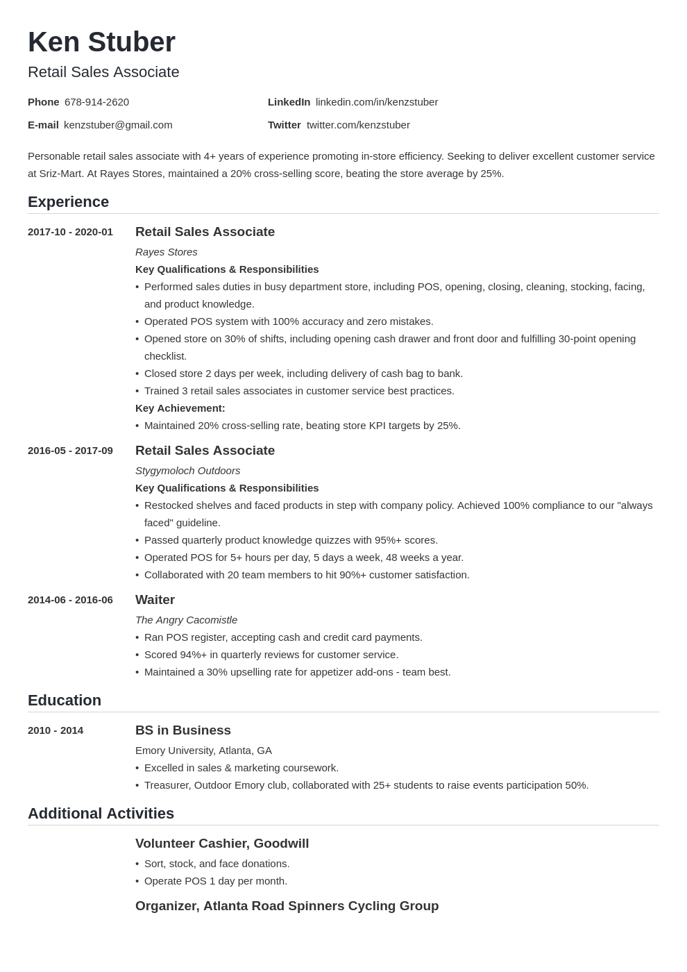 retail sales associate resume example template nanica