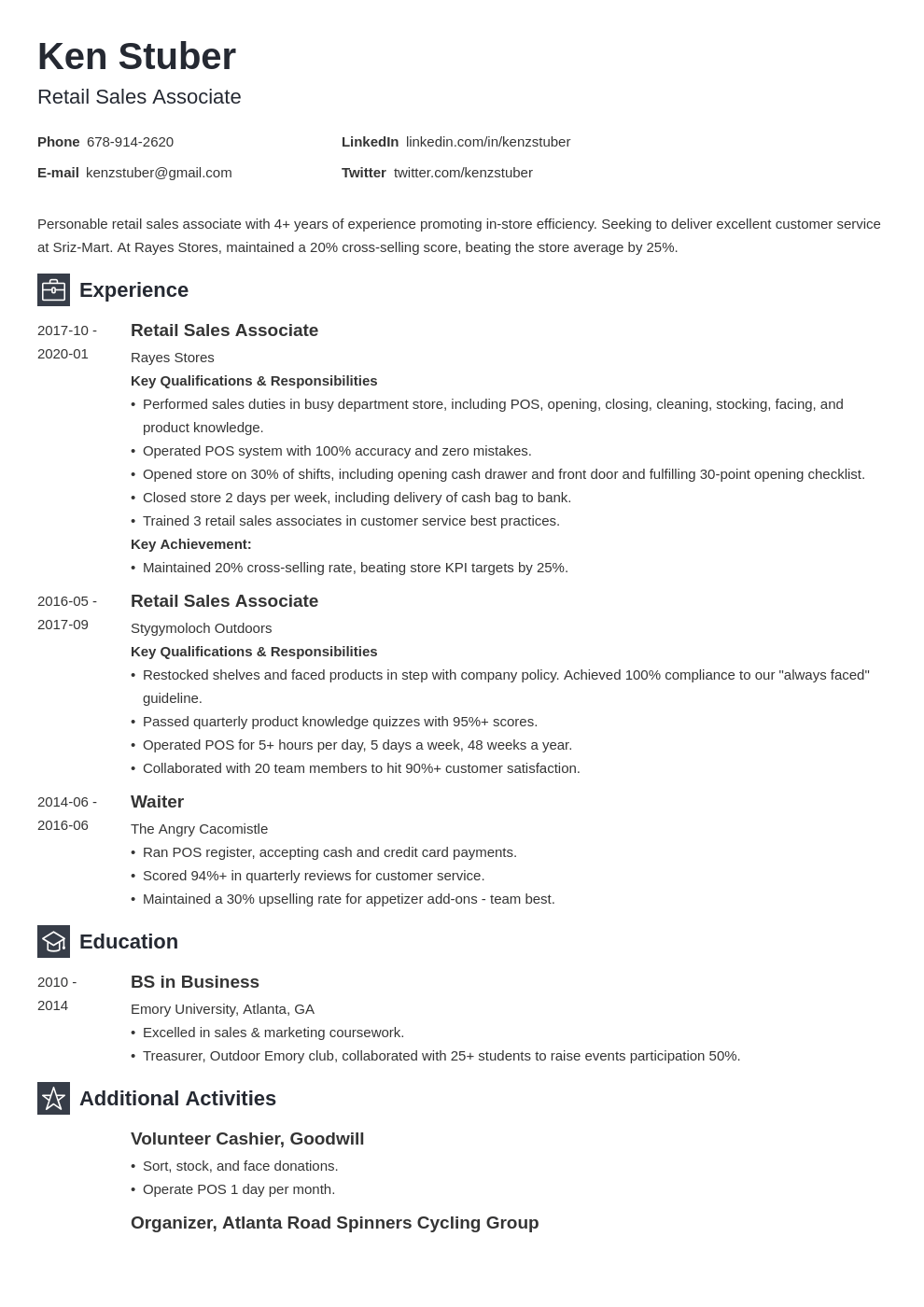retail sales associate resume example template newcast