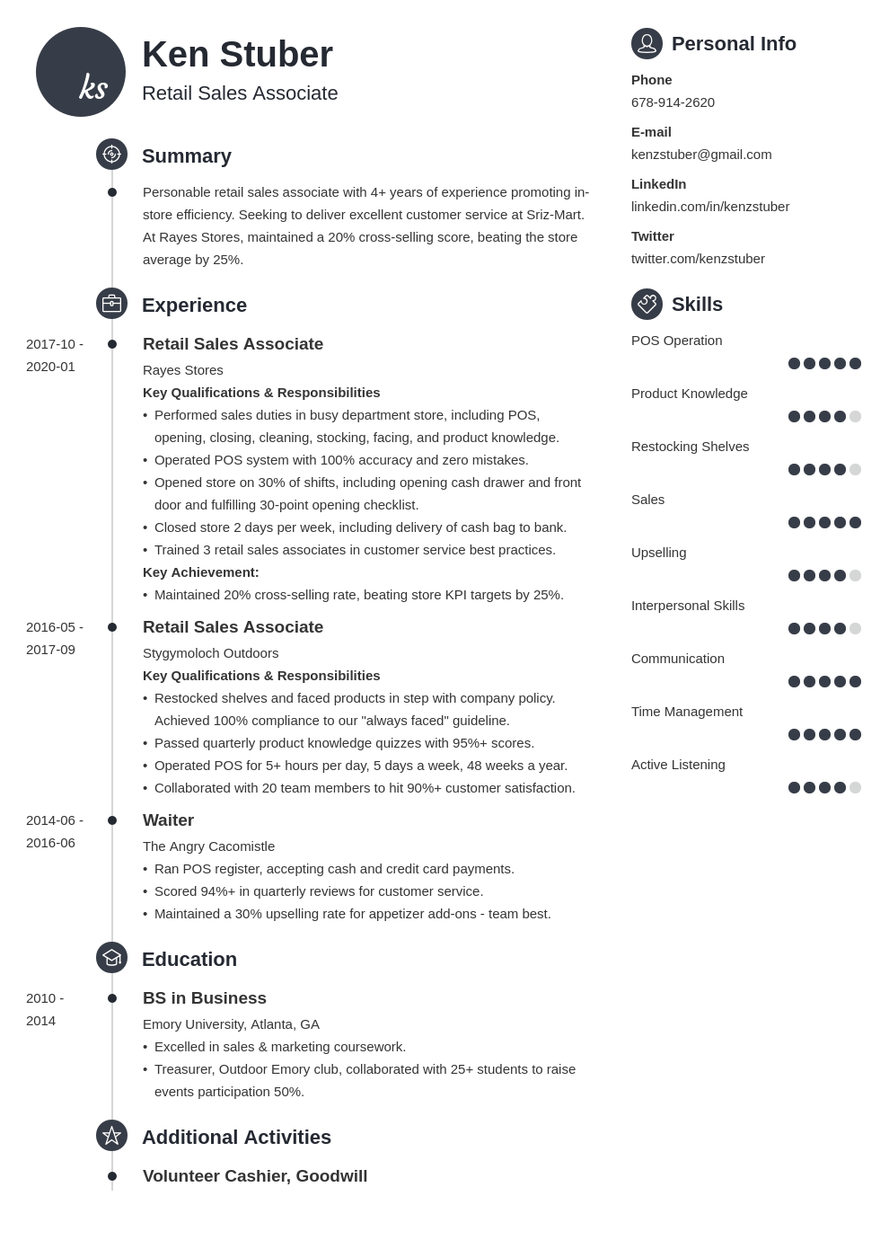 retail sales associate resume example template primo