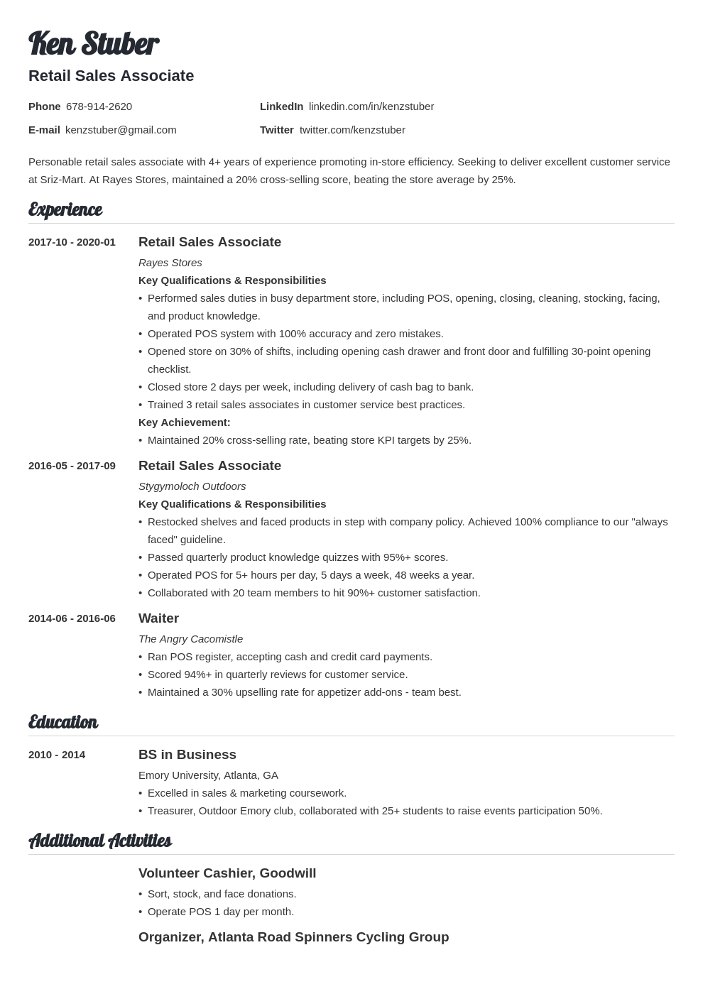retail sales associate resume example template valera