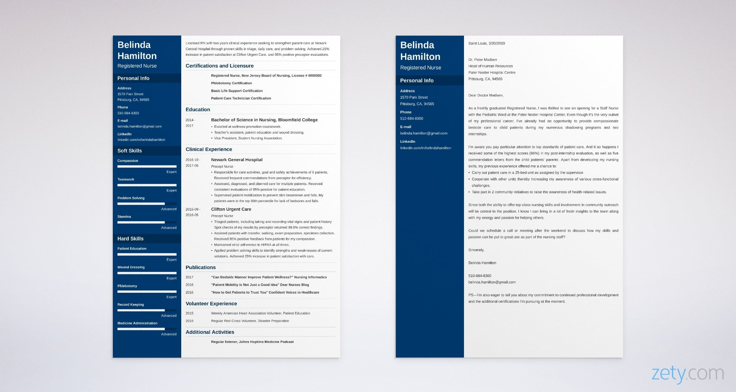 RN resume and cover letter set