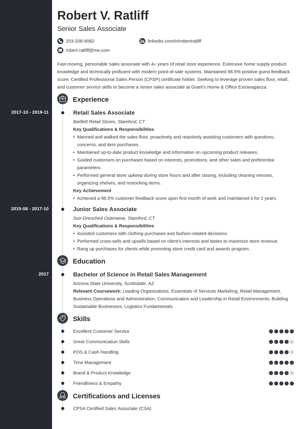 sales associate resume template concept