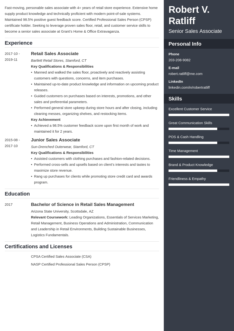 sales associate resume template enfold