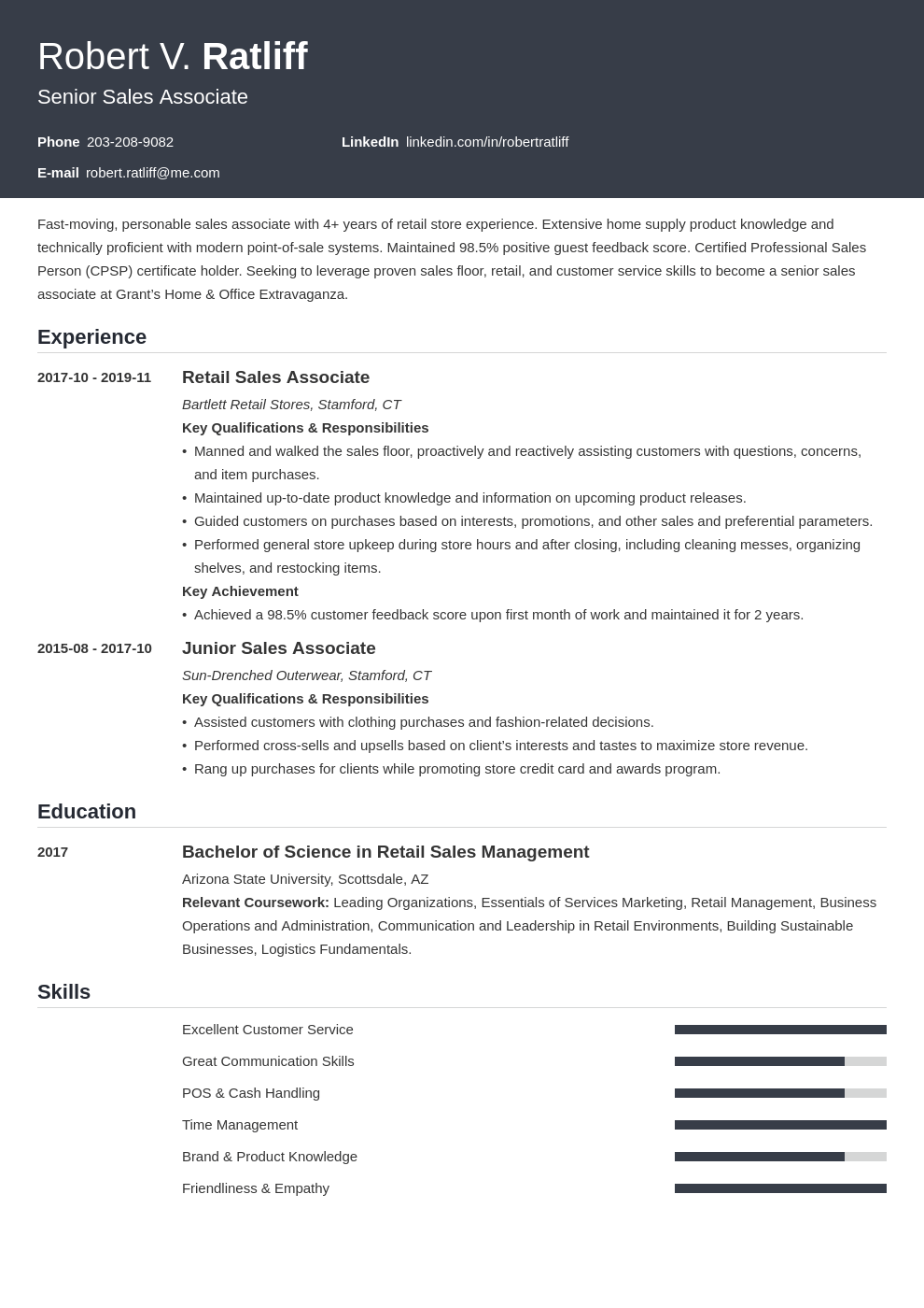 sales associate resume examples   job description  u0026 skills