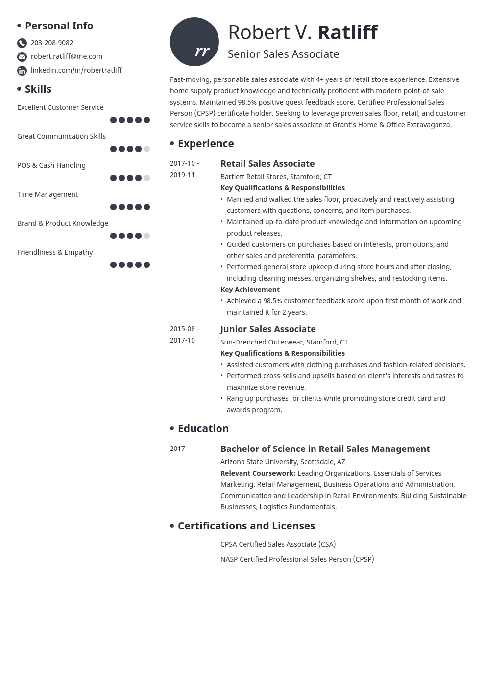 sales associate resume template initials