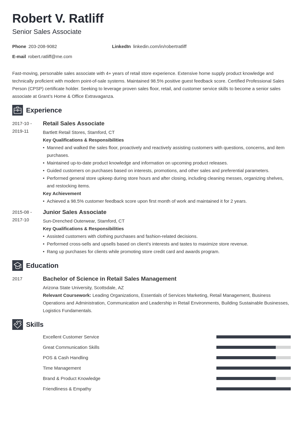 sales associate resume template newcast
