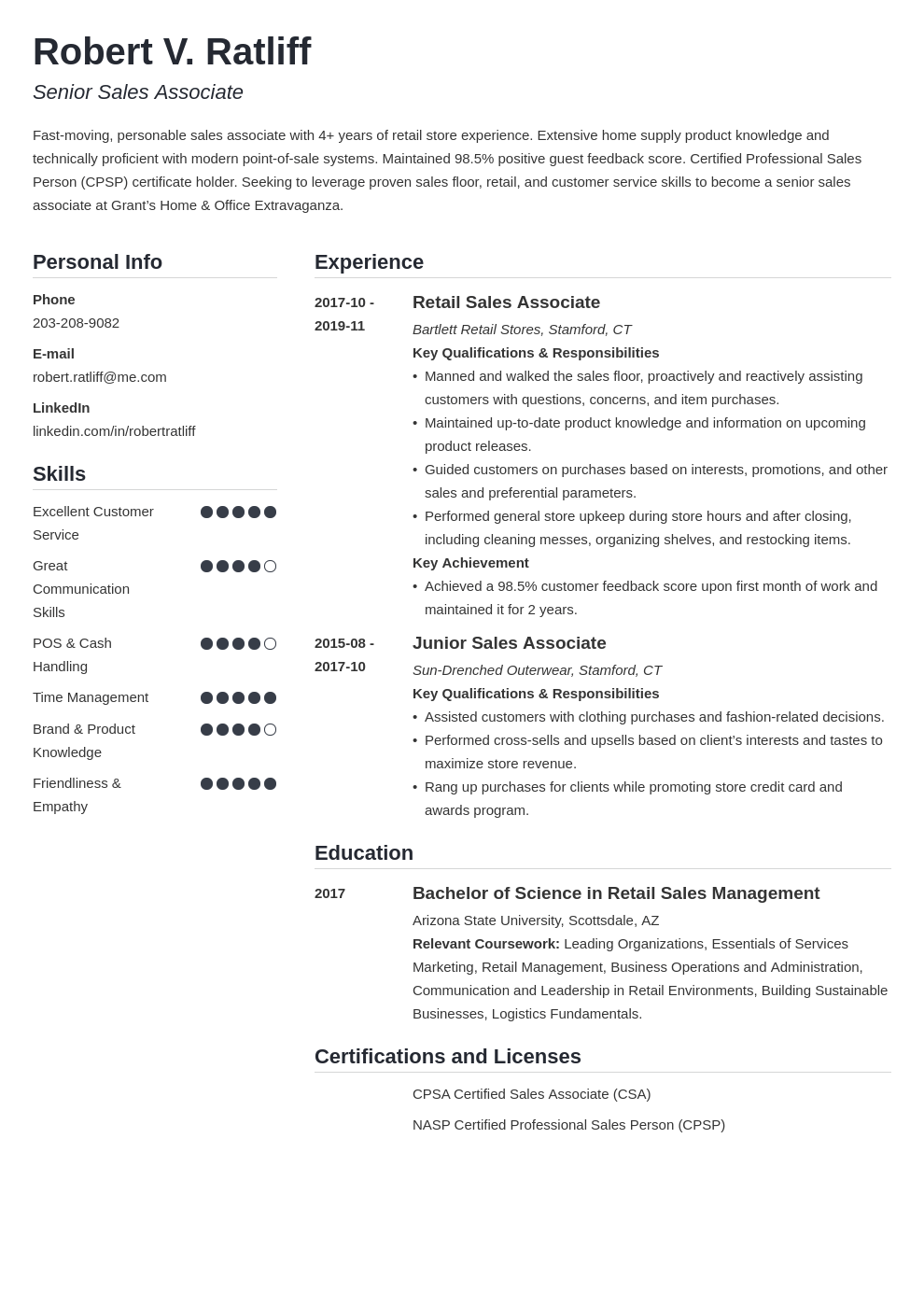 sales associate resume template simple