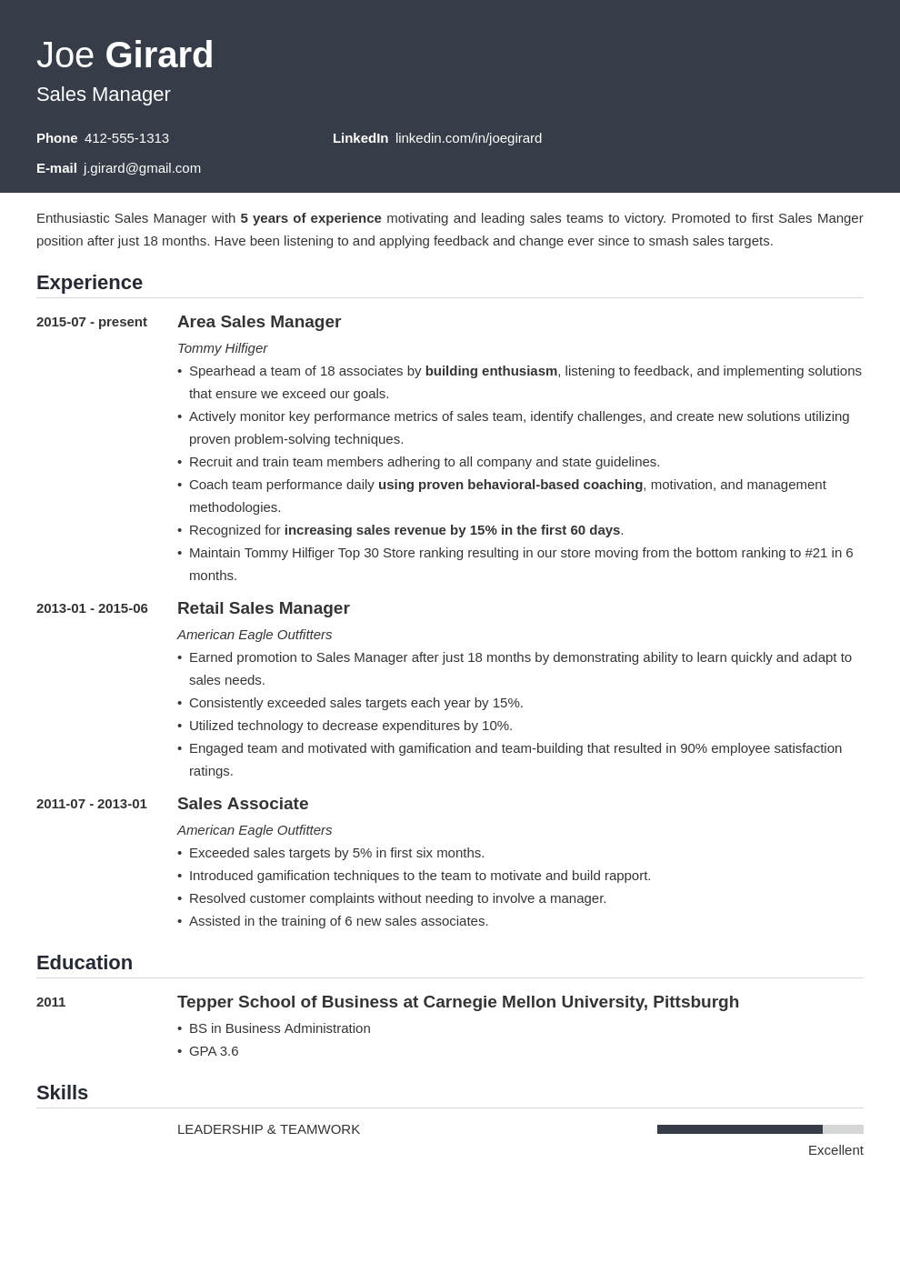Sales Manager Resume Examples Templates Key Skills