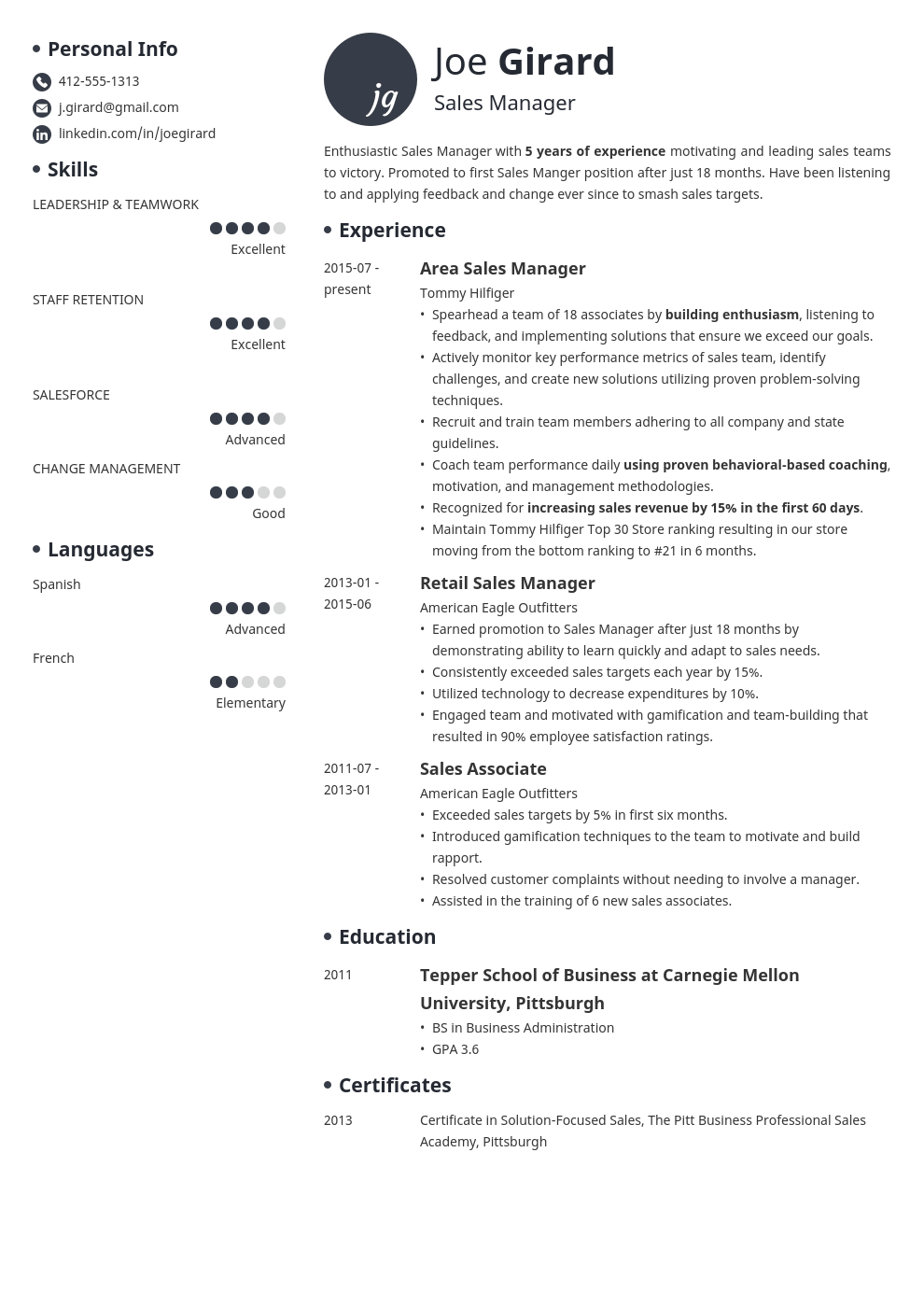 sales manager resume example template initials