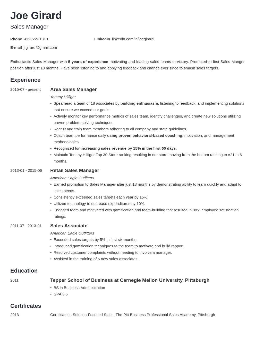 sales manager resume example template minimo