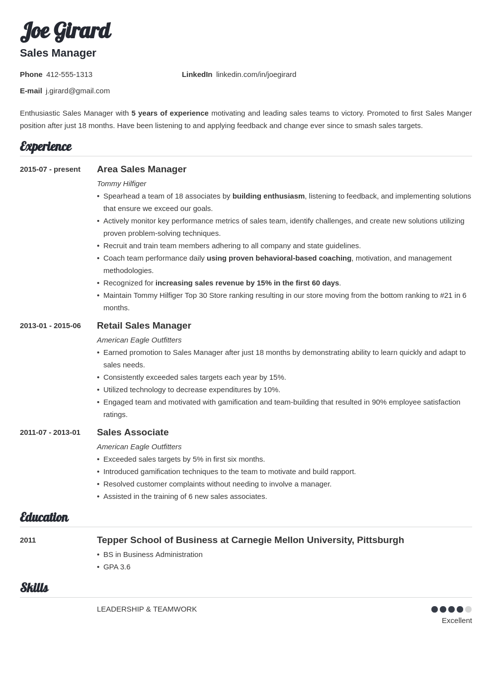 sales manager resume example template valera