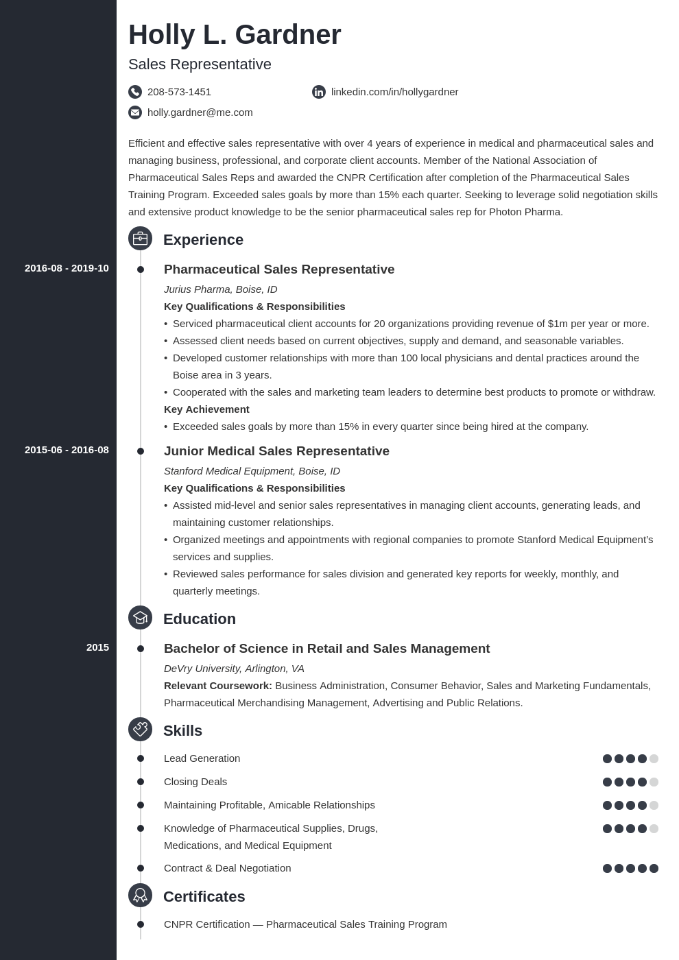sales representative resume example template concept