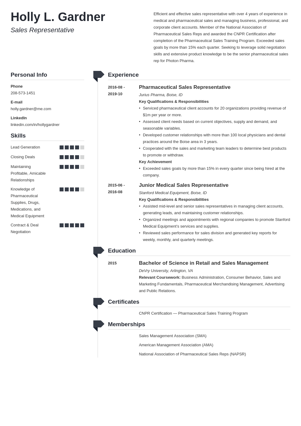 sales representative resume example template muse