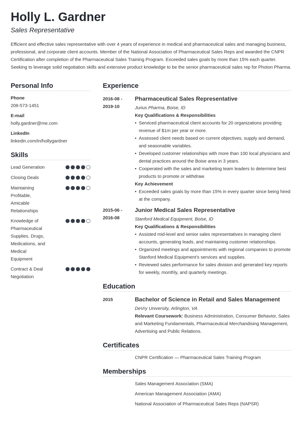 sales representative resume example template simple
