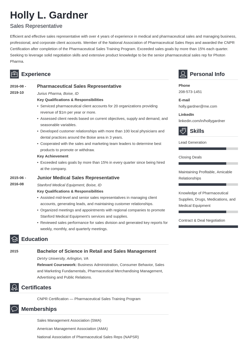 sales representative resume example template vibes