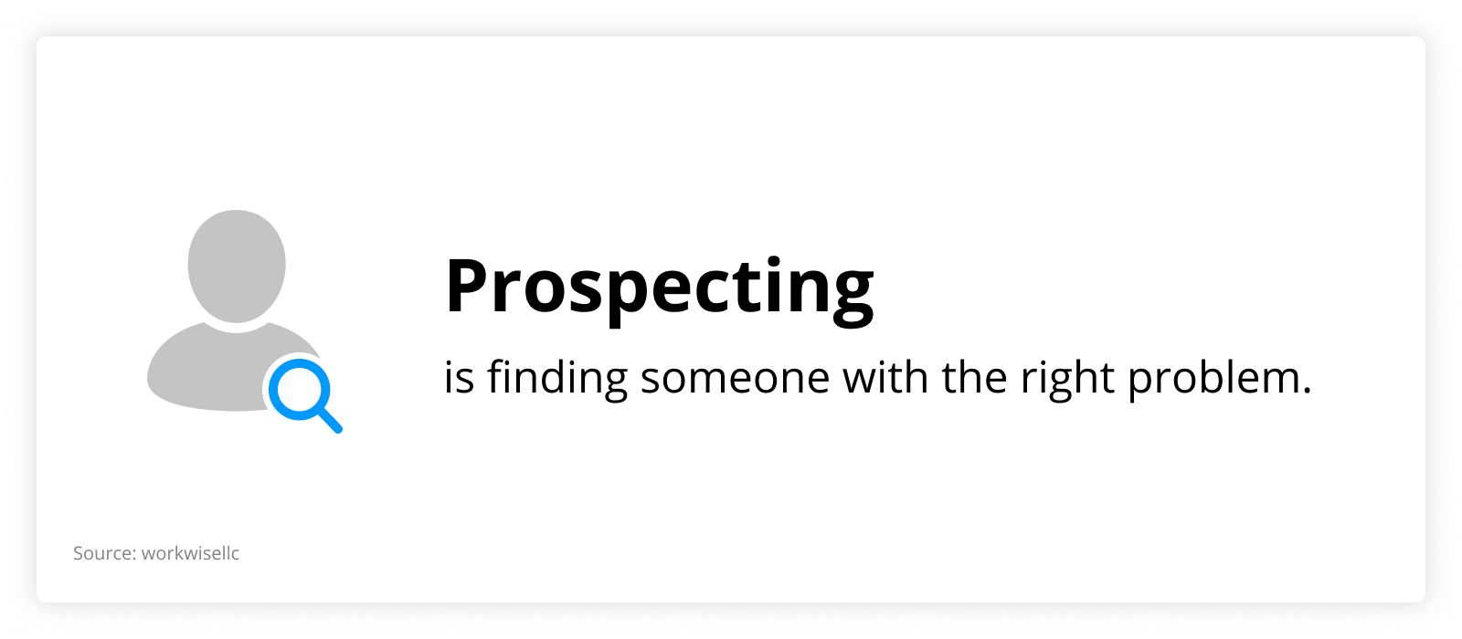 graph showing that prospecting is finding someone with the right problem