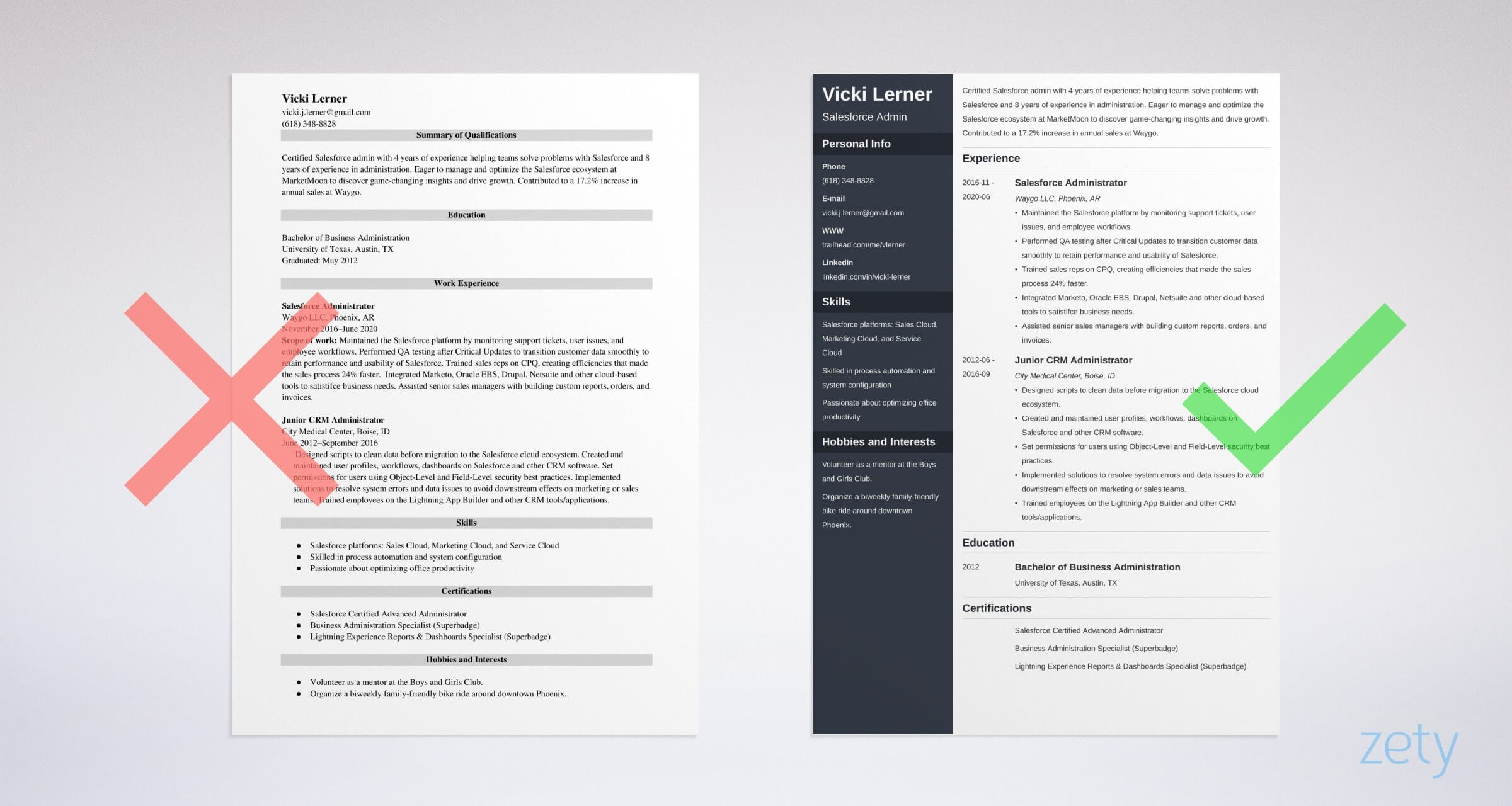 salesforce admin resume templates