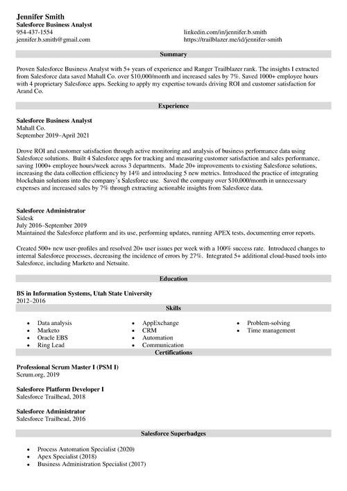 Salesforce business analyst resume example