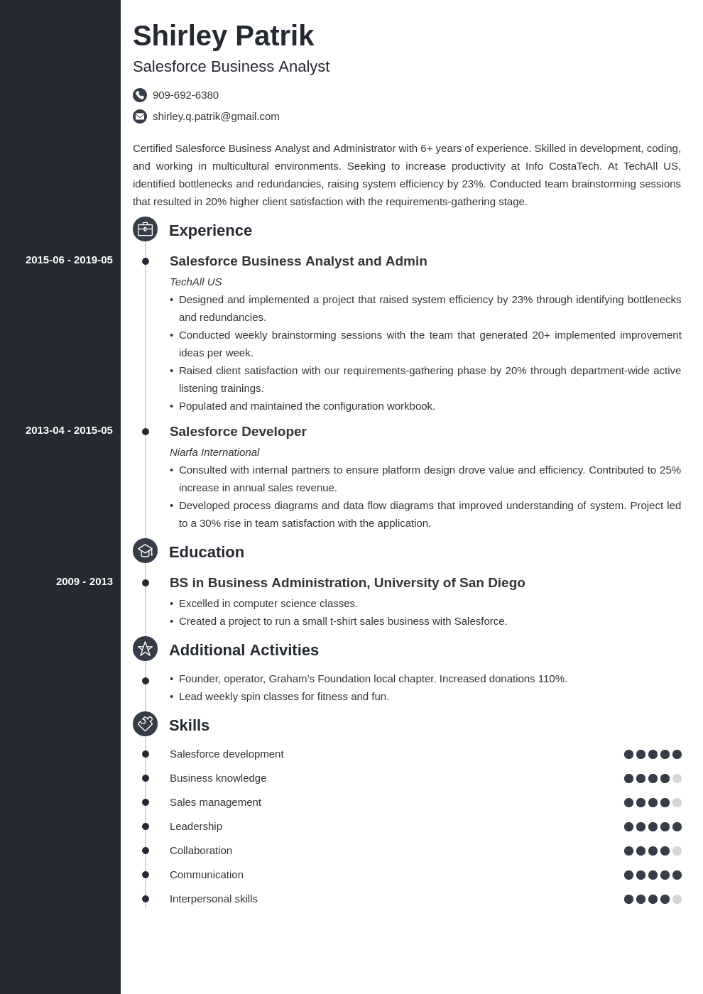 salesforce resume example template concept