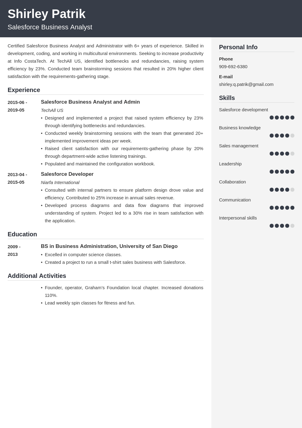 salesforce resume example template cubic