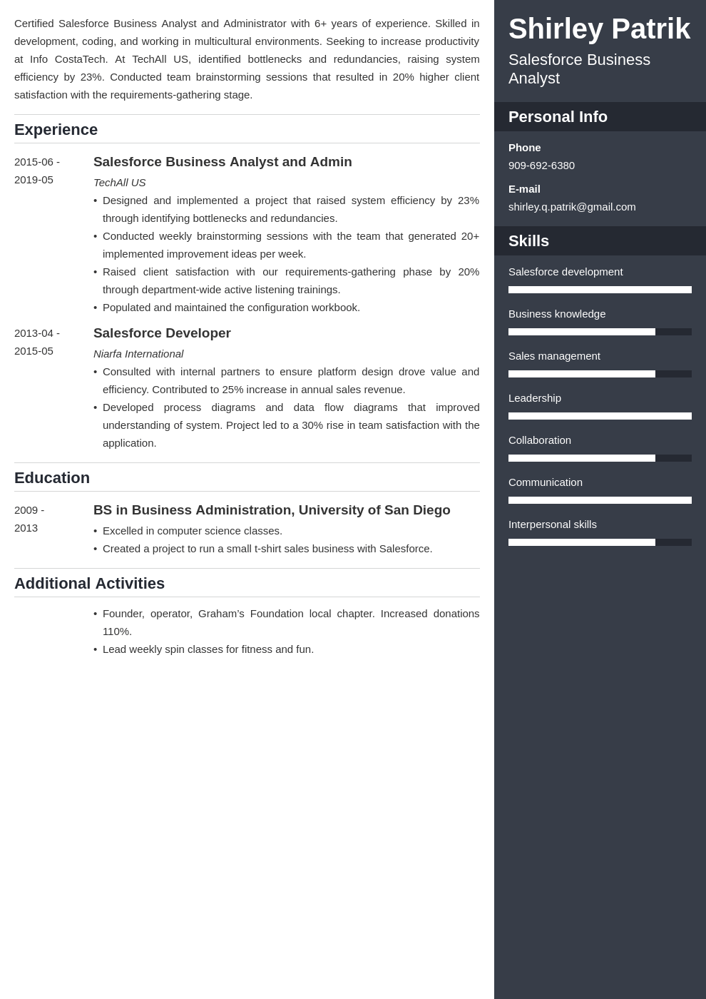 salesforce resume example template enfold